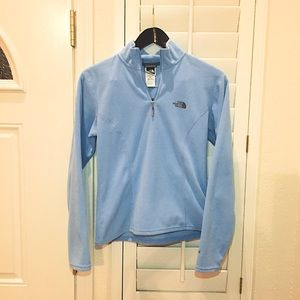 Baby blue north face quarter zip pullover Small